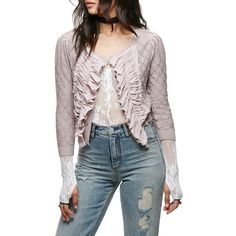 Women's Free People Tiny Dancer Ruffle Cardigan ($128) ❤ liked on Polyvore featuring tops, cardigans, mauve, free people cardigan, knit crop top, cardigan crop top, ruffle trim cardigan and ruched sleeve top