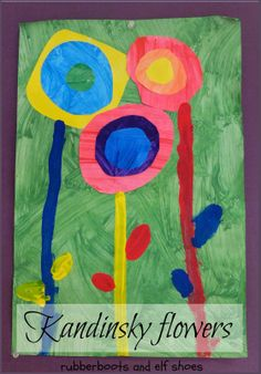 """Kandinsky circles - spring style (I have seen this done in a kindergarten glass as """"Kandinsky Trees"""" [with book pages or newspaper print, or the like, for the backgrounds].)"""