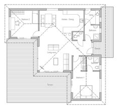 small-houses_10_house_plan_ch214.jpg. I like the bedrooms not being next to each other, and the laundry away from the bedrooms too!