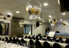 Gumball Balloons for a 30th Birthday Party at Summerland Restaurant in Bankstown. Gold, Black & White is such an elegant, classy colour combination.  www.thepartyshere.com.au  #balloons #thepartyshere #30th #30thbirthday #gold #black #white #party #event #dinner #dirty30 #balloondelivery
