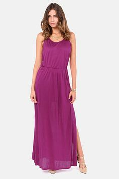 Check it out from Lulus.com! The angels will sing of your heavenly style in the Ethereal Melodies Magenta Maxi Dress! This soft, stretch knit dress has a divine feeling with its draping spaghetti strap bodice and modified racer back to show off extra skin. A maxi skirt with thigh-high slits falls from a gathered elastic waist that hugs your curves for a beautiful silhouette. Skirt is lined to mid thigh. Model is wearing a size small. 100�0Rayon. Machine Wash Cold. Made with Love in the…