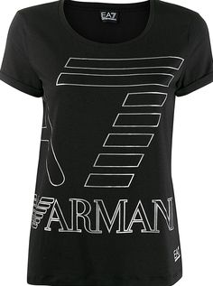 Black  cotton blend   logo print tshirt  from Ea7 Emporio Armani featuring a round neck a printed logo to the front short sleeves and a straight hem. Armani Logo, Emporio Armani, Black Cotton, Size Clothing, Women Wear, Short Sleeves, Logos, Mens Tops, T Shirt