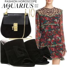 #Aquarius Fashion Horoscope: Exhibit your eclectic side in a bold #minidress with sleek Fergie #mules that give your famously free-spirited style an edge. #airsign #birthdaylook (Fergie Footwear: Black NOELLE Mules on Polyvore featuring Scotch & Soda dress, Chloe crossbody and Diane Von Furstenberg earrings)