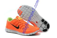 Cheap Nike Free Run 4 Vivid Orange Green White For Sale