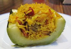 Spanish rice stuffed marrow - marrow can be tasty!