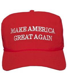 The Donald J Trump Make America Great Again! Structured cap in red with 2-color embroidered logo.