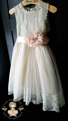 Flower girl dress champagne with blush sash and flowers