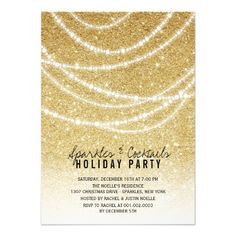 Stylish Holiday Gold Glitter Sparkles Party Invite | custom holiday party invitation by fatfatin
