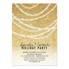 Stylish Holiday Gold Glitter Sparkles Party Invite | custom holiday party invitation by fatfatin