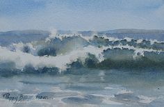 Waves Rolling In by Poppy Balser Watercolor ~ 7 x 10