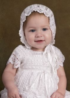 Sophie baby Heirloom Crocheted Christening Gown hat bonnet