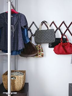 ....purse organization, this is great for inside a closet on a wall. Purse Rack, Bag Rack, Purse Storage, Purse Organization, Purse Holder, Closet Storage, Hanging Purses, Louis Vuitton Artsy Mm, Closet Bedroom