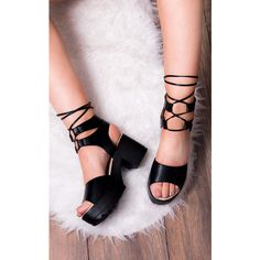 SpyLoveBuy Molly Open Peep Toe Mid Heel Sandals Shoes   Black Leather... ($35) ❤ liked on Polyvore featuring shoes, sandals, black, black peep toe sandals, black platform shoes, platform shoes, platform sandals and black heeled sandals