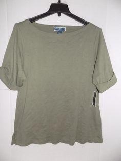 c1c6e99bafbf WTC2658 Karen Scott Women Plus Olive Boat Neck Cuffed Sleeve Shirt NWT Size  1X #fashion