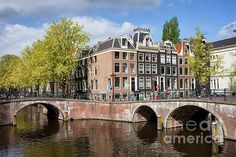 Bridges over canals in the city of Amsterdam, Holland, Netherlands.