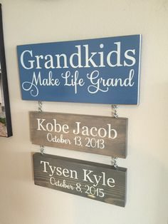 Grandkids Make Life Grand Sign with Hanging by HomeLoveDesigns