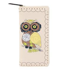 Damara Womens Owl Print Bifold Long Z... $13.99