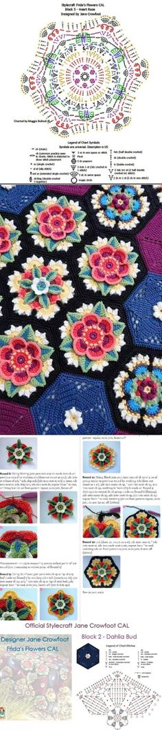 Crochet patterns blanket english 47 Ideas for 2019 Crochet Doily Diagram, Granny Square Crochet Pattern, Crochet Flower Patterns, Crochet Squares, Crochet Blanket Patterns, Crochet Motif, Crochet Doilies, Crochet Stitches, Knitting Patterns
