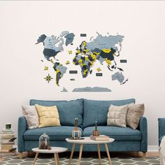 Yellow 3D World Wooden Map by GaDenMap. LEMON TREE color. Wood World Map is a unique wall décor idea for your home! World Travel Map, Push Pin Map, Travel Map with Pins. Wood World Map can be used as a travel map. Pin board for your loft decor ideas, business development places, travel destination and just random notes of happiness. Large wall art decor and a place for inspiration! #mapwalldecor #nurserydecor #walldecor Wall Maps, Wall Décor, Wood World Map, Simple Poster, Kids Room Wall Art, Unique Wall Decor, Travel Memories, Large Wall Art, House Warming