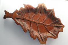 Vintage hand carved wood tray, solid wood tray, oak leaf shaped decor, heavy wooden centerpiece, fireplace mantel art, handcrafted display