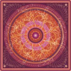 """Progetto tessile di STRATEGIC-DESIGN per foulard in seta con grafica originale,soggetto """"Mandala in rosso,arancio e bordeau"""""""