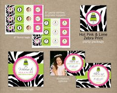 Custom Printable Hot Pink and Lime Green Zebra Print Birthday Party Package. $35.00, via Etsy.