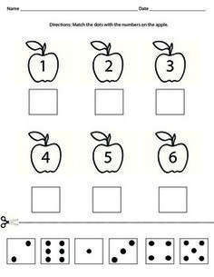 Cut and paste domino dots with the matching number.Perfect activity to teach numbers or to reinforce number sense. Can be used in the Fall with the apple theme. Teaching Numbers, Numbers Preschool, Math Classroom, Kindergarten Worksheets, Teaching Math, Preschool Activities, Apple Activities, Learning Activities, Apple Theme