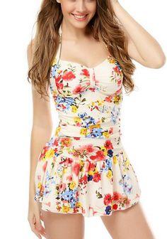 One Piece Floral Ruched Halter Push Up Slim Tummy Control Tankini Swim Dress