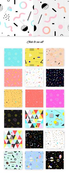 34 Party patterns/prints. 80's style by PonyHead on @creativemarket
