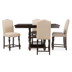 Wholesale Interiors - Baxton Studio Zachary Chic French Vintage Oak Brown 5-Piece Square Counter Pub Set - DC18836P 5PC Pub Set