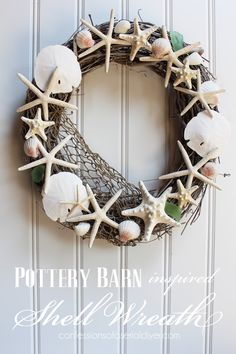 Pottery Barn inspired Shell Wreath