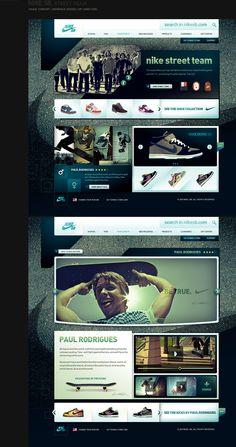 Nike Website, like the lines and shapes, grunge feeling with a clean design - Vraiment g�nial, voir aussi ce qui se passe sur http://toopixel.ch de l'inspiration web design d'une agence web � Gen�ve haut de gamme !