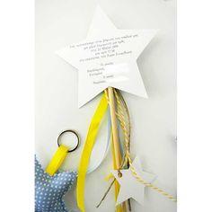 Προσκλητήριο αστέρι - ξύλινο στικ Christening, Place Cards, Place Card Holders