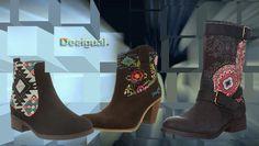#Desigual Schuhe Stiefel - Modelle Indian Boho, Lauris und Combat. Muster: floral, ethnisch, exotisch und Mandala, schwarz und braun.