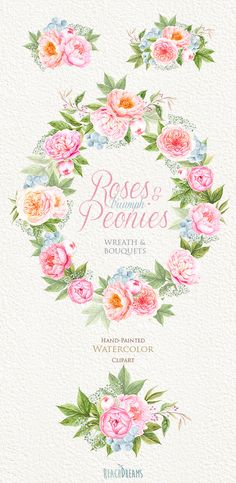 Wedding Watercolor Wreath & Bouquets, Peonies, English Roses Flowers, Brunia…