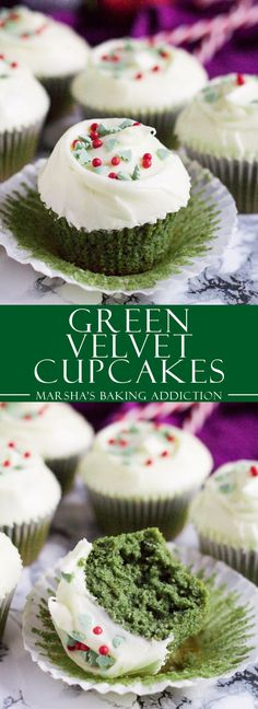 Green Velvet Cupcakes | marshasbakingaddiction.com @marshasbakeblog