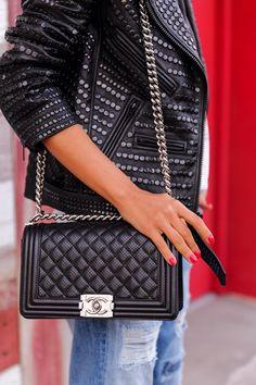 Viva Luxury - A.L.C. studded leather motorcycle jacket | Chanel Boy bag http://FashionCognoscente.blogspot.com