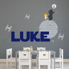 Star Wars Theme Wall Decal Darth Vader and Son by Zapoart on Etsy