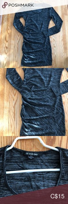 Flattering and perfect for a dress up or down. Hits below the knee le chateau Dresses Midi Dress Long, Dress Up, Plus Fashion, Fashion Tips, Fashion Trends, Beautiful Dresses, Black And Grey, Two Piece Skirt Set, Long Sleeve