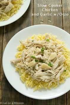 A super-simple slow cooker chicken and garlic with orzo recipe that can be versatile and goes with anything! A family staple!