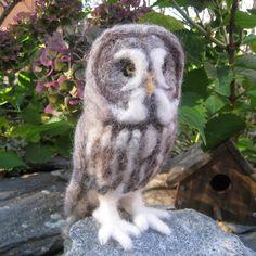 Such a regal owl! Mr. Great Grey Owl needle felted bird fiber art by TCMfeltDesigns, $149.00