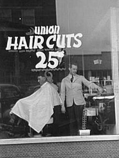 Photo shot by Arthur Rothstein in January, 1939, shows a barbershop for union workers in Herrin, Illinois.
