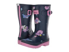 1c07b832b Joules Kids Printed Welly Rain Boot (Toddler/Little Kid/Big Kid) Girls Shoes  Blue Confetti Floral
