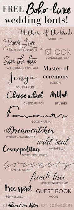 Free boho luxe fonts for your wedding projects projects # . - Free boho luxe fonts for your wedding projects – - Typography Fonts, Hand Lettering, Wedding Typography, Wedding Calligraphy Fonts, Vinyl Lettering Projects, Typography Tattoos, Sign Fonts, Chalkboard Fonts, Lettering Ideas