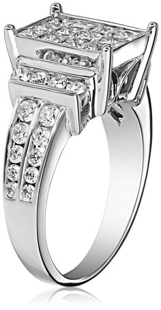 Amazon.com: IGI Certified 14k White Gold Engagement Ring with Princess-Cut Diamonds (2cttw, H-I Color, I1-I2 Clarity): Jewelry