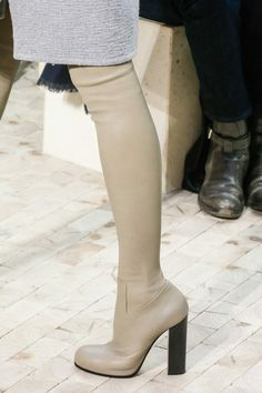 Céline fall 2013 - beige leather thigh high boots