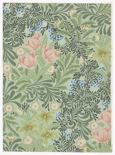 Sidewall, 1930–40. Morris & Co. .1930–40. Very dense pattern of tulips and lilies, with foliage. Printed in pink, green, blue and white on green ground. Block-printed on paper. Gift of Anonymous Donor.