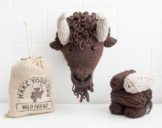 Faux Bison Knitting Kit - Make Your Own Wild Friend DIY Trophy Head