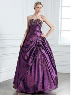 Ball-Gown Sweetheart Floor-Length Taffeta Tulle Quinceanera Dress With Embroidered Beading (021005237)