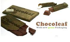 Packaging de chocolat comestible fait de feuilles de bananiers. Innovant et futuriste, les packagings seront ils tous comestibles plus tard? Emballage 100% naturel, dans les thèmes et en accord avec le produit. L'emballage comme le chocolat viennent des même endroits. De plus, il est repérable facilement par son originalité et surtout par sa texture qui se différencie des autres.